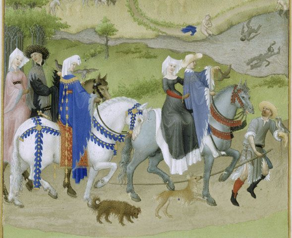 "Hawking in August calendar page from Les Tres Riches Heures of the Duc de Berry, Limbourg Brothers, beginning of the 15th century. ""The great masters of the Books of Hours were three brothers, Pol, John and Herman, from Limbourg, in the Netherlands. After serving an apprenticeship in Paris they entered the employ of the Duc de Berry. Their masterpiece is the ""Tres Riches Heures,"" now in Chantilly."""
