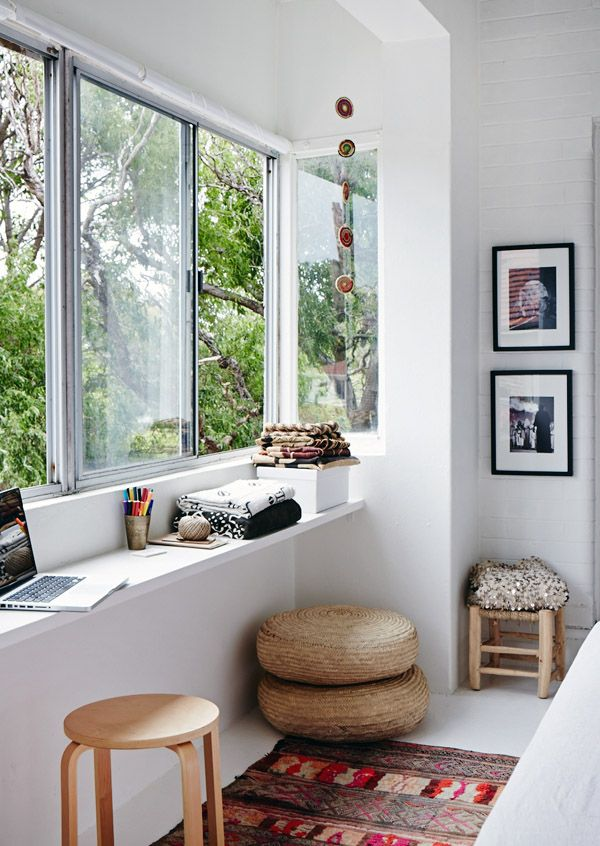 Sitting Area Using a Shelf as a Tabletop