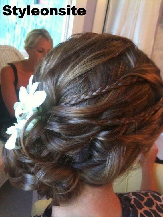 side curls and braids   Wedding   Pinterest