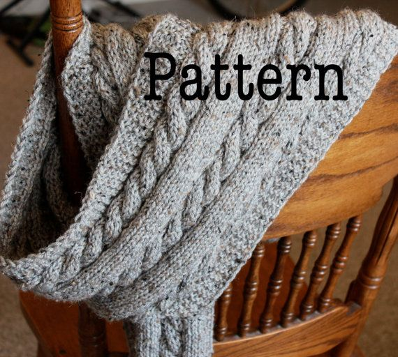 Spotlight Free Knitting Patterns : PDF Knitting Pattern for Cabled Scarf - Cable Knit Scarf Pattern