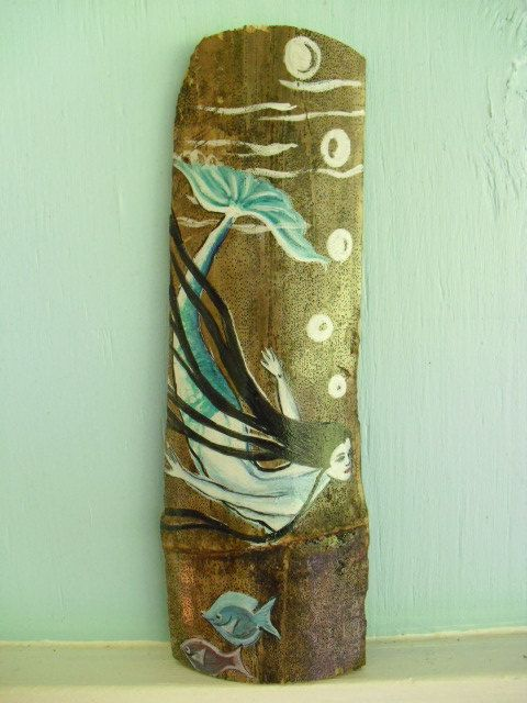 home decor beach decor diving mermaid hand painted on