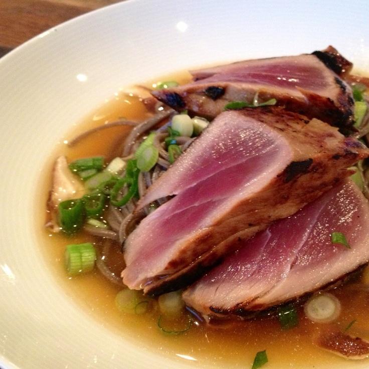 Miso-sake-agave glazed seared yellowfin tuna on soba noodles, shiitake ...