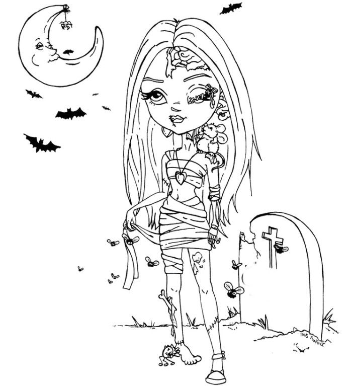 Zombie Princess Coloring Pages : Free girl zombies coloring pages