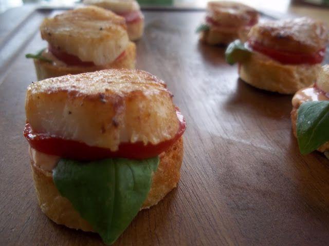 ... Delight: Tomato Basil Sea Scallop Croustini with Sriracha Chili Sauce