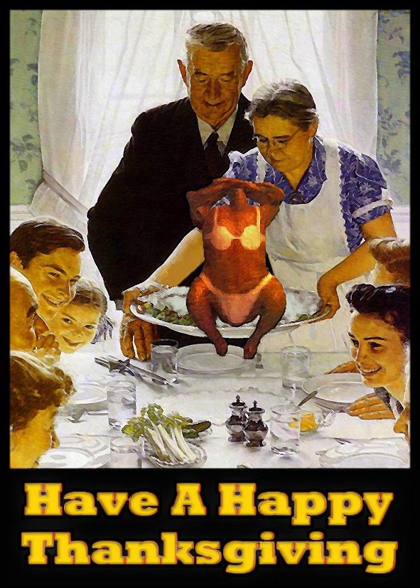 Norman Rockwell Thanksgiving Parody   Assorted Silliness ... Freedom From Want Parody