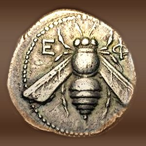 Many Ancient Coins had the Emblem of the honey bee on it as it was a symbol of wealth and power.  This is due in part to the fact that ancient society realized that the honeybee had such control over their food supply.