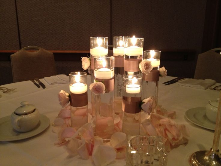 Blushchampagne With Floating Candles Modern