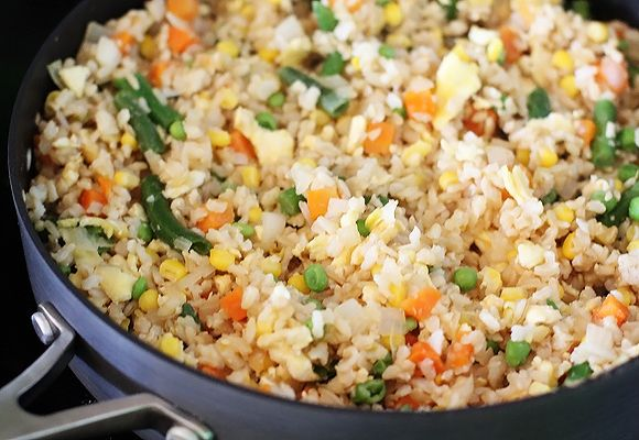 Vegetable fried rice in a skillet