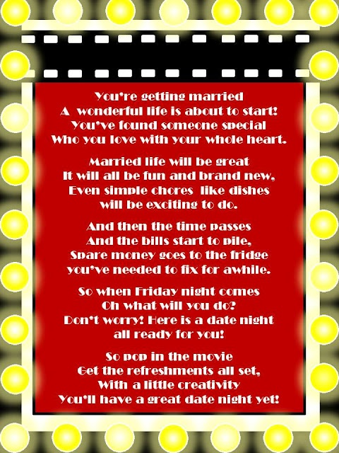 Date Night Wedding Shower Gift : For bridal shower, date night movie gift basket, include popcorn ...