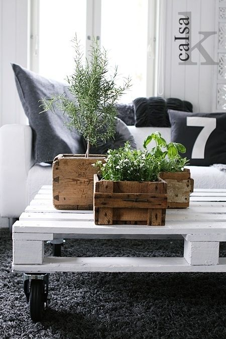 love the mix of gray carpet, white table, wooden boxes and green plants.
