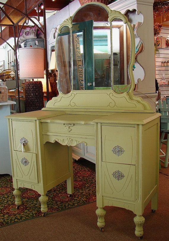 Vintage Antique Lime Green Paint Vanity Dressing Table Desk W Mirror - Vintage  Vanity Desk With - Antique Dressing Vanity Antique Furniture