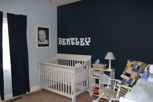 navy accent wall nursery pinterest. Black Bedroom Furniture Sets. Home Design Ideas