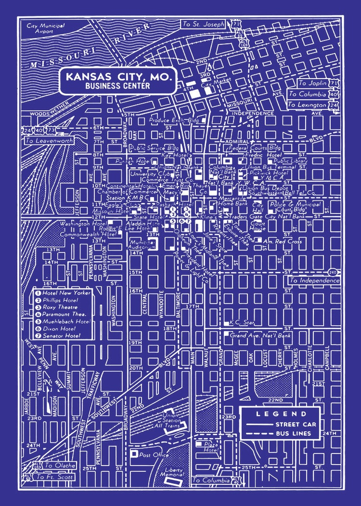 1949 vintage map of downtown kansas city 20x30 blueprint for Where to print blueprints
