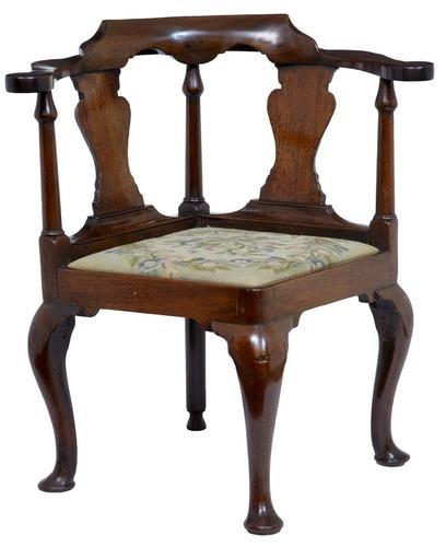 18th century antique walnut corner chair