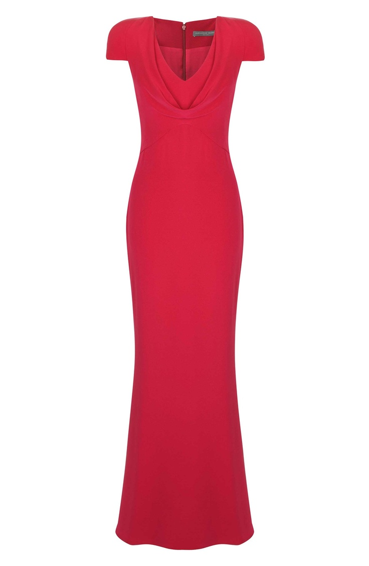 Pippa Middleton dress in Red!  RASPBERRY COWL NECK CREPE FLOOR-LENGTH DRESS
