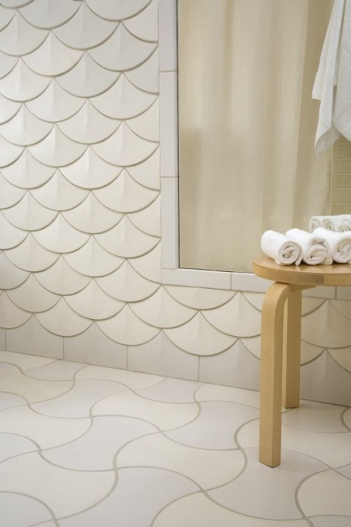 Fish scale scalloped tile dream home pinterest for Fish scale tiles bathroom