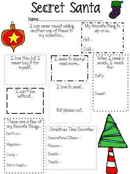 Secret Santa Questionnaire | White Elephant | Pinterest