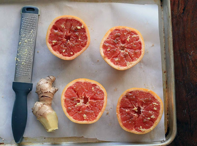 Broiled grapefruit with the zing of fresh ginger and some brown sugar ...