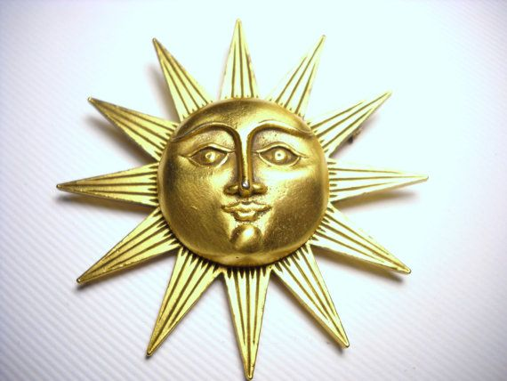 Vintage Sun Face MFA Brooch Pin Gold Tone Bronze by FindCharlotte, $18.00