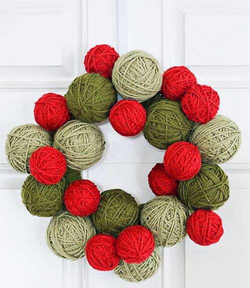 stryofoam balls wrapped in yarn - love this wreath!