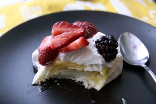 Pavlovas with Meyer Lemon Curd and Fresh Berries...i'm hungry! #foodie