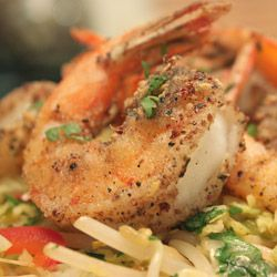 Salted Szechwan Pepper Shrimp with Stir Fried Bean Sprouts