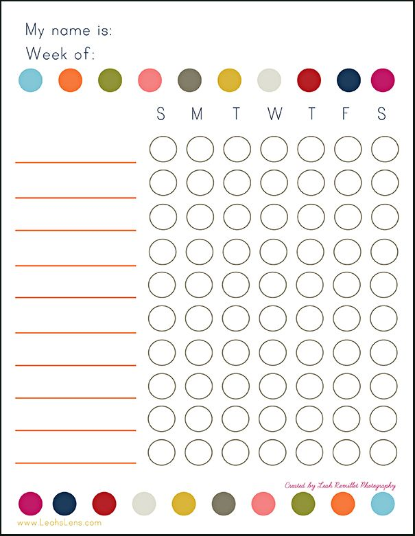 chore chart for the kiddos...like how you You can write in specific chores for each kid. We like to use small round stickers to check off each task.