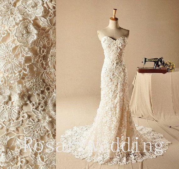 Simple Unique Lace Ivory Elegant Wedding Dress