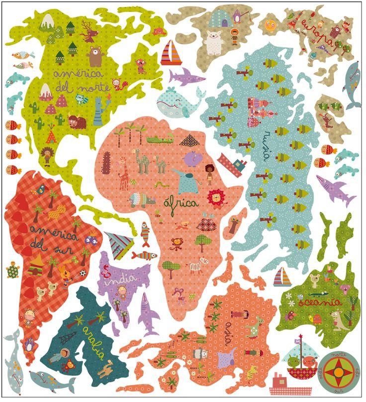 vinilo de tela mapa mundi| un mundo fantástico