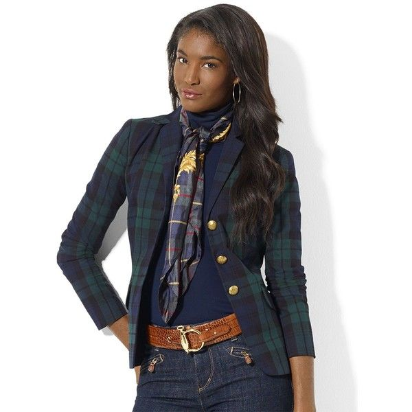 LAUREN RALPH LAUREN Petite Tartan Plaid Wool Jacket ($149) found on Polyvore