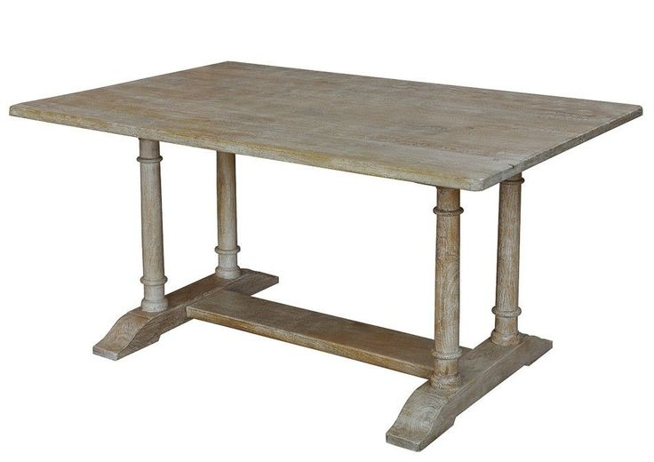 four column dining table pickled finish handmade mango wood new free