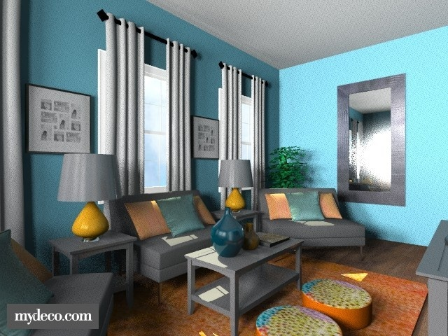 Teal And Orange Living Room For The Home Pinterest