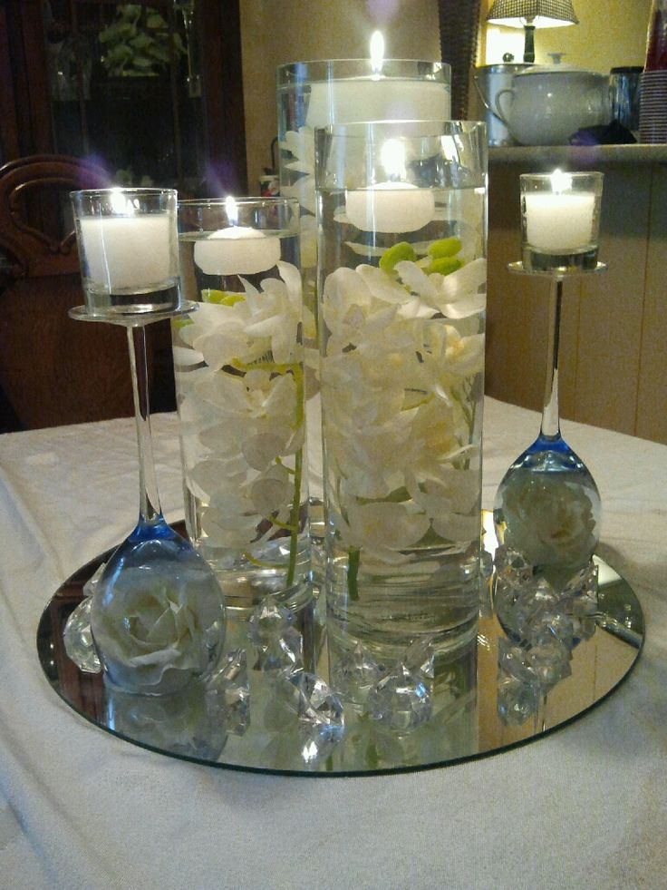 Homemade centerpieces baptism pinterest