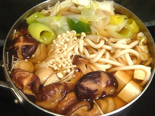 Japanese #hotpot #vegetarian recipe with udon noodles and mushrooms # ...