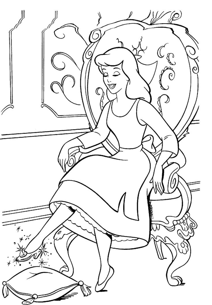 glass slipper coloring pages - photo#17