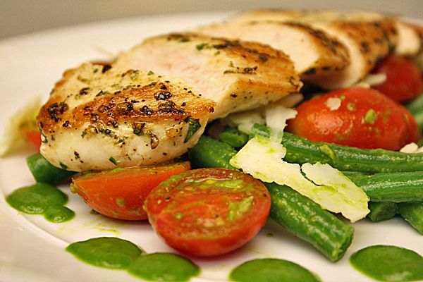 pepper and parsley crusted chicken breast over green beans in basil ...