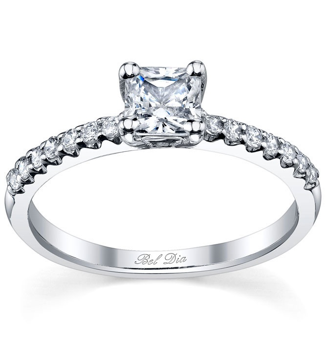 Princess cut engagement ring with pave diamond band. I think this is ...