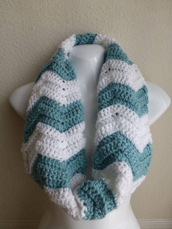 Crochet Chevron Pattern : Crocheted Scarf: Chevron Pattern, Sea Foam Blue & White on Etsy, $28 ...