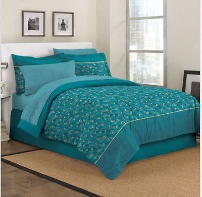 King size exotic teal blue peacock feathers forter