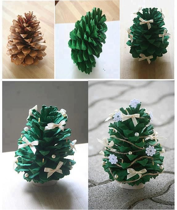 Diy pine cone christmas tree for Pine cone christmas tree craft