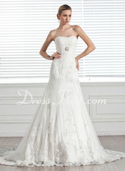 ... Schleppe Satin Tüll Brautkleid mit Rüschen Spitze Perlen verziert