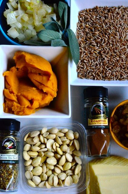 Cheesy Pumpkin Farro with Marcona Almonds | ReluctantEntertainer.com