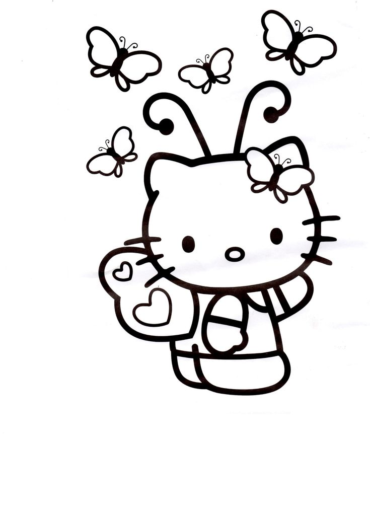 Hello Kitty Butterfly Coloring Pages : Hello kitty cartoon characters pinterest