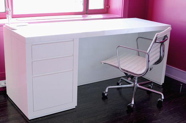 High gloss white desk | New home mood board | Pinterest
