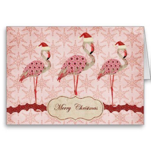 512 x 512 jpeg 38kB, Vintage Pink Flamingos Merry Christmas Card