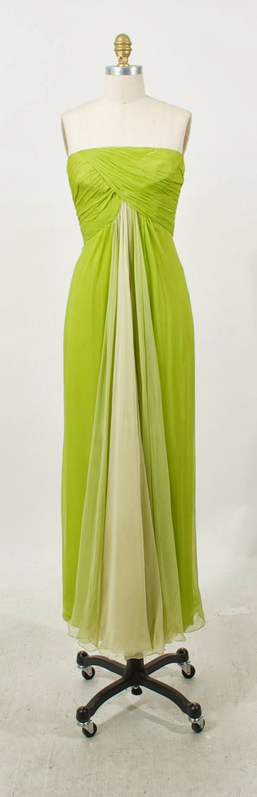 Jean Louis lime chiffon gown with shawl, c. 1960's. Modern size 2.