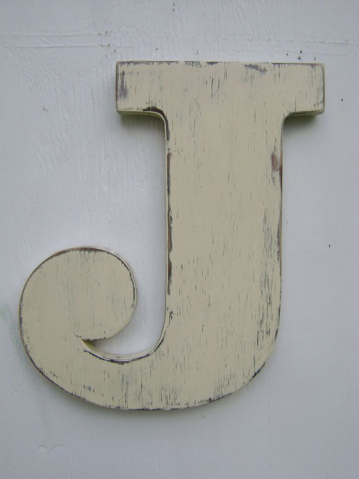 Personalized rustic wall letters shabby chic monograms for Large letter j for wall