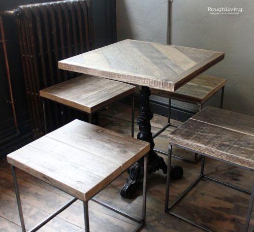 industrial pub furniture reclaimed wood tables stools shelves storage