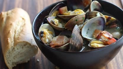 Beer Steamed Clams with Bacon and Tomatoes