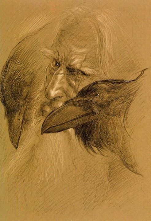 Odin and ravens - John Howe